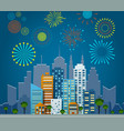 bright fireworks over night city background vector image vector image