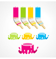 brush bucket colored set vector image