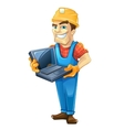 Builder with laptop helmet Isolated on white vector image vector image