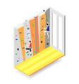 climbing wall isometric design concept vector image