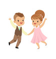 cute little boy and girl dancing in retro elegant vector image vector image