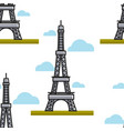 eiffel tower seamless pattern paris france vector image