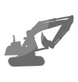 excavator silhouette isolated icon vector image vector image