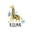 giraffe flat hand drawn character vector image vector image
