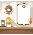 Girl at Coffee Shop Counter with Blank Sign vector image vector image