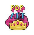 golden crown pop art icon vector image