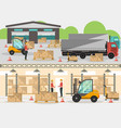 goods distribution business banner in flat design vector image
