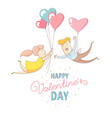 happy valentines day couple characters flying vector image vector image