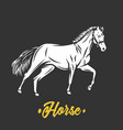 horse black and white objects vector image vector image