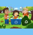 kids recycles bottles vector image