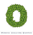 letter o symbol of green leaves vector image vector image
