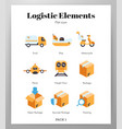 logistic elements flat pack vector image vector image