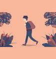 man walking in forest in flat design vector image vector image