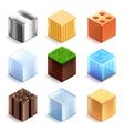 Materials and textures cubes icons set vector image vector image