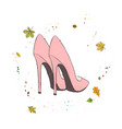 modern stylish shoes of pink color shoes on the vector image