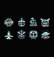 nautical theme set of logos or labels marine vector image