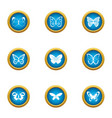 night insect icons set flat style vector image
