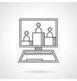 Online seminar flat line icon vector image vector image