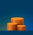 orange product display mockup 3d podium on blue