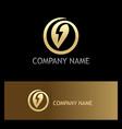 organic leaf energy gold logo vector image vector image