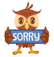 owl with sorry sign on white background vector image vector image