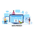 people group padlock computer screen data vector image