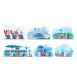 people travel plane bus set sitting and vector image