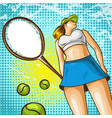pop art tennis player vector image
