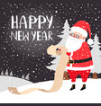 santa reading presents list card vector image vector image