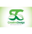 sc green leaf letter design logo eco bio leaf vector image vector image