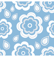 Seamless pattern blue with flowers and leaf vector image vector image