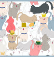 set of cute cat seamless pattern cartoon vector image