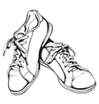 Shabby Running Shoes in Black Ink vector image vector image