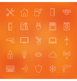 Smart Home Technology Line Icons Set over Blurred vector image vector image