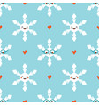 snowflakes character and hearts seamless pattern vector image vector image