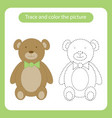 teddy bear toy with simple shapes trace and color vector image vector image