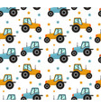 tractor seamless pattern bacars for boys vector image