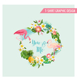 Tropical Flowers and Flamingo Wreath vector image vector image