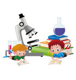 two boys reading books and science equipments in vector image vector image