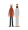 two muslim arabic people standing together in vector image