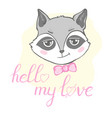 with cute raccoon holding in hands the vector image