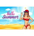 woman in hat on the beach Hello summer sun girl vector image