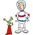 astronaut with alien cartoon vector image