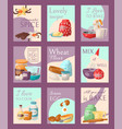 baking set of cards aromatic vector image