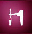 beer tap with glass icon on purple background vector image