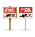 beware shark sign on white background vector image vector image