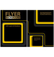 black flyer template with yellow geometric shapes vector image
