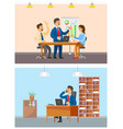 boss businessman and employer on team meeting vector image vector image
