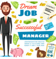 businessman or office manager job poster vector image vector image