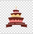 cake icon sweet holidays happy birthday vector image